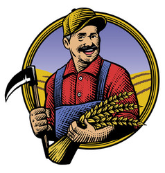 traditional hand drawing style of farmer vector image