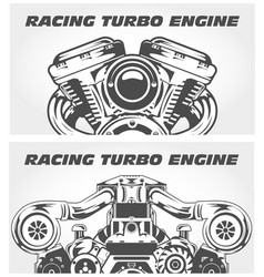 turbocharging racing engine and motorcycle motor vector image vector image