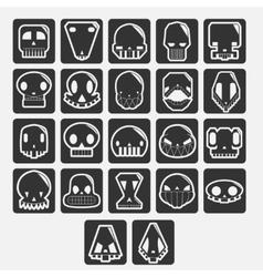 white skulls cartoon set vector image