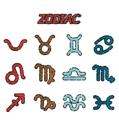 Zodiac flat icons set vector
