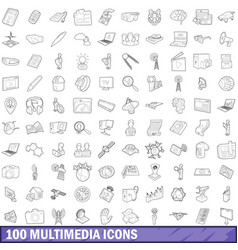 100 multimedia icons set outline style vector image
