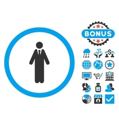 Clerk flat icon with bonus vector