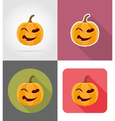 pumpkins for halloween flat icons 07 vector image