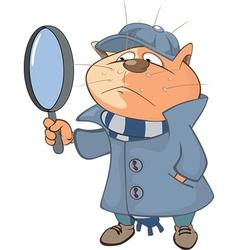 Cute Cat Detective Cartoon vector image
