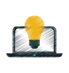 Drawing idea laptop technology vector