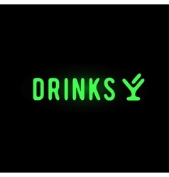 Light neon drinks label vector