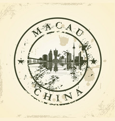 grunge rubber stamp with macau china vector image