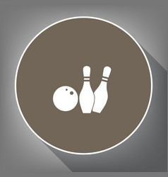 Bowling sign   white icon on vector