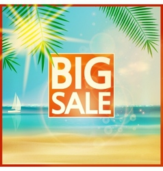 Final summer sale design template with beach vector