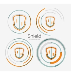 Thin line neat design logo shield icon set vector