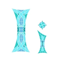 Low poly letter i in blue mosaic polygon vector