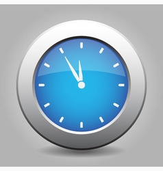 Blue metal button - last minute clock vector