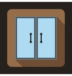 Two glass doors icon flat style vector