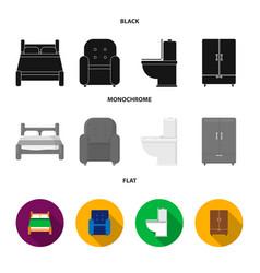 A bed an armchair a toilet a wardrobe vector