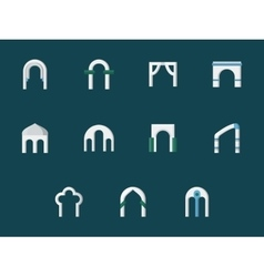 Arch types flat color icons vector