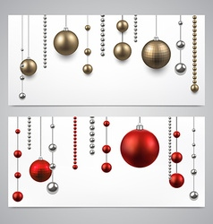 Background with christmas baubles vector image