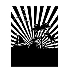 Black and white tropical sunset icon image vector