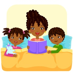 Black family reading story vector