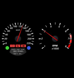 Car dashboard speedometer and tachometer vector
