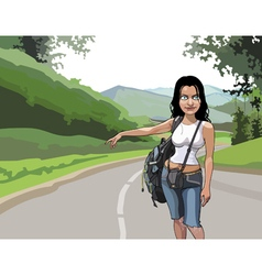 cartoon woman tourist hitchhiking on the road vector image vector image