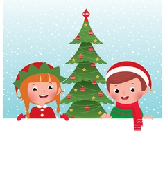 Christmas elf and Santa Claus and white banner vector image vector image