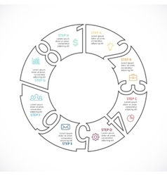 Circle numbers linear infographic cycle vector