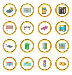City infrastructure icons circle vector