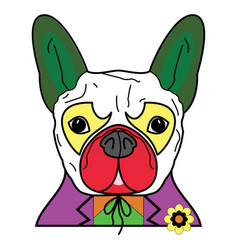 Comic villain symbol in colorful joker costume wi vector