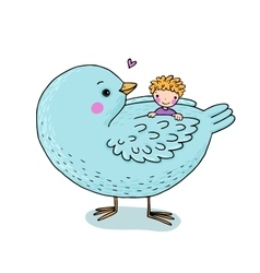 Cute cartoon baby and big bird vector
