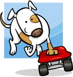 Dog on skateboard cartoon vector