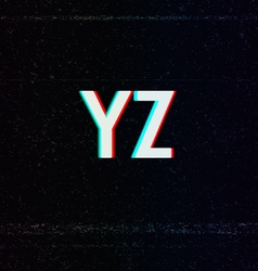 Font with TV Stereo Effect From Y to Z vector image vector image