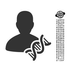 geneticist dna icon with professional bonus vector image