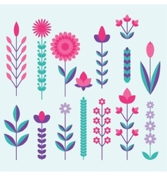 geometric cute flower icons set vector image vector image