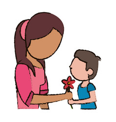 mother and son with flower vector image vector image