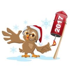 Owl santa lights rocket fireworks 2017 vector