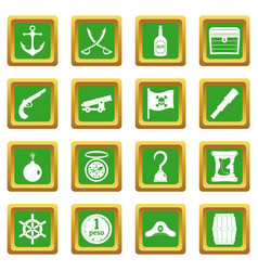 pirate icons set green vector image