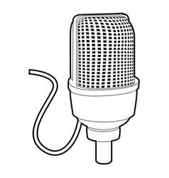 Retro microphone icon outline style vector