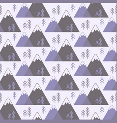 Seamless pattern with mountains and trees vector