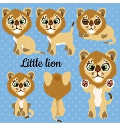 Set of emotions a little lion on a blue background vector image vector image