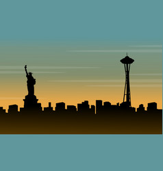 Silhouette of liberty statue beauty landscape vector