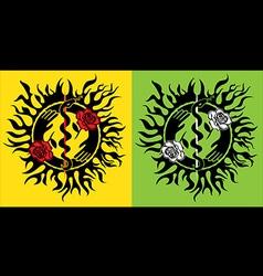 snake symbol flower roses design stamp vector image vector image