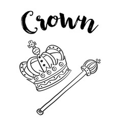 Style hand draw crown doodle vector