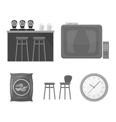 tv bar counter chairs and armchairs potato vector image vector image