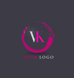 Vk letter logo circular purple splash brush vector