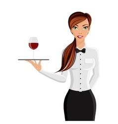 Woman waiter portrait vector