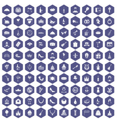 100 banquet icons hexagon purple vector
