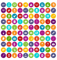 100 veterinary icons set color vector
