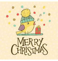 Christmas card with bird vector