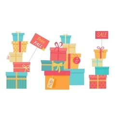Big Pile of Wrapped Gift Boxes Sale Concept vector image