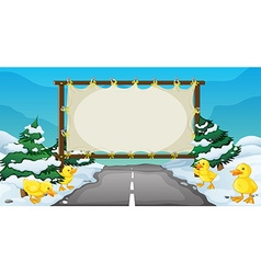 Board template with ducks on snow vector
